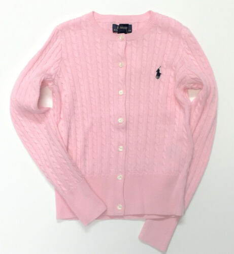 RALPH LAUREN POLO Girls Size 12-14 Sweater Kids Large Cardigan NEW