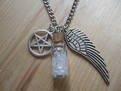 """SUPERNATURAL Protection Necklace Angel Wing Pentagram Salt Bottle Pendant 20"""""""