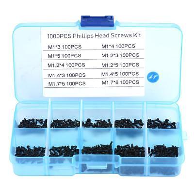 1000pcs M1 M1.4 M1.7 Miniature Self Tapping Track Screws Black Screws Mini Tiny