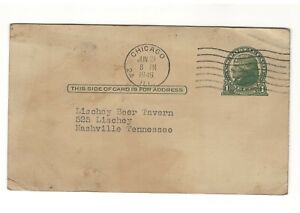 1949 Post Card Lischey Beer Tavern Nashville TN,  Leonards & Lee Surplus Chicago