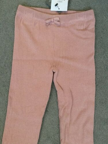 M/&S PALE PINK RIBBED LEGGINGS WITH DECORATIVE BOW /& FOLDED OVER ENDS BNWT