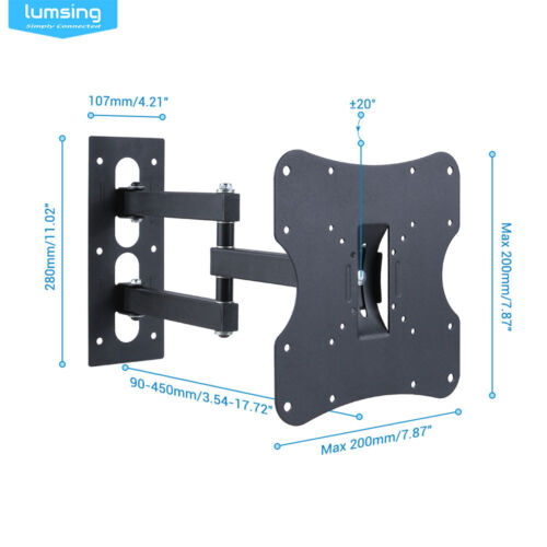 Full Motion Tilt Swivel LCD LED TV Wall Mounts Bracket 14-42/'/' to VESA 200X200