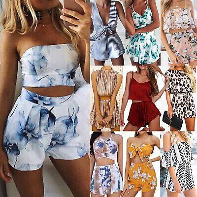 Women Striped Co-Ord Set Mini Playsuit Jumpsuit Summer Beach Crop Tops Shorts