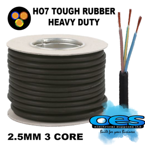 Rubber Cable 3 core 2.5 H07RN-F Heavy Duty Pond Outdoor Site Extension 50 metre