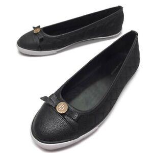 Tommy Hilfiger Black Flats Ballerina Shoes Sz 8M Bow Toe CLEAN