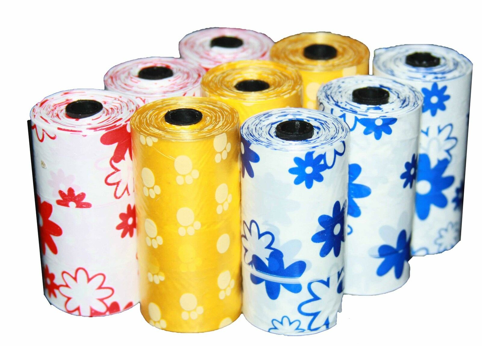 9000 DOG PET WASTE POOP PRINTED Farbe BAGS 600 REFILL ROLLS WITH PLASTIC CORE