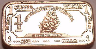 UNC  PROOF 1 oz .999 pure copper BARS.....combine shipping save $$$