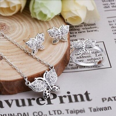 2015 Fashion Gift Solid 925Silver Jewelry Butterfly Necklace&Earrings&Ring+Box
