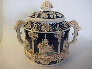 Wick-Werke-WW-Germany-Stoneware-Stein-Grape-Pottery-Punch-Bowl-Jar-Canister