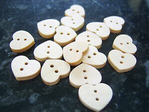10-Plain-wooden-heart-shaped-medium-buttons-15-x-17mm-sewing