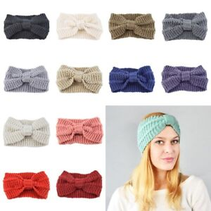 2d98007bf93 Image is loading Fashion-Womens-Bowknot-Hair-Band-Headwrap-Winter-Crochet-