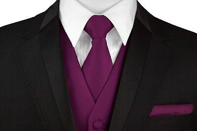 Prom Men/'s Sangria Satin Formal Dress Tuxedo Vest Tie /& Hankie Set Wedding
