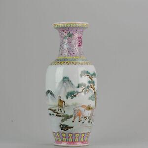 Marked-Chinese-porcelain-1960-70-039-s-ProC-Vase-Horses-of-Wang-Mu-Calligrap