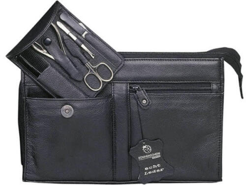 Sonnenschein Hamburg Travel Leather Toiletry Bag With 5Pcs Manicure Set Germany