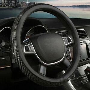 Universal-Black-Leather-Diamond-15-034-38cm-Rhinestone-SUV-Car-steering-Wheel-Cover