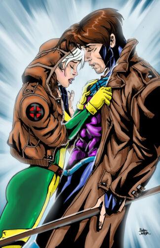 Gambit and rogue unfair xmen marvel comic art pinup 11x17 print Rod Jacobsen