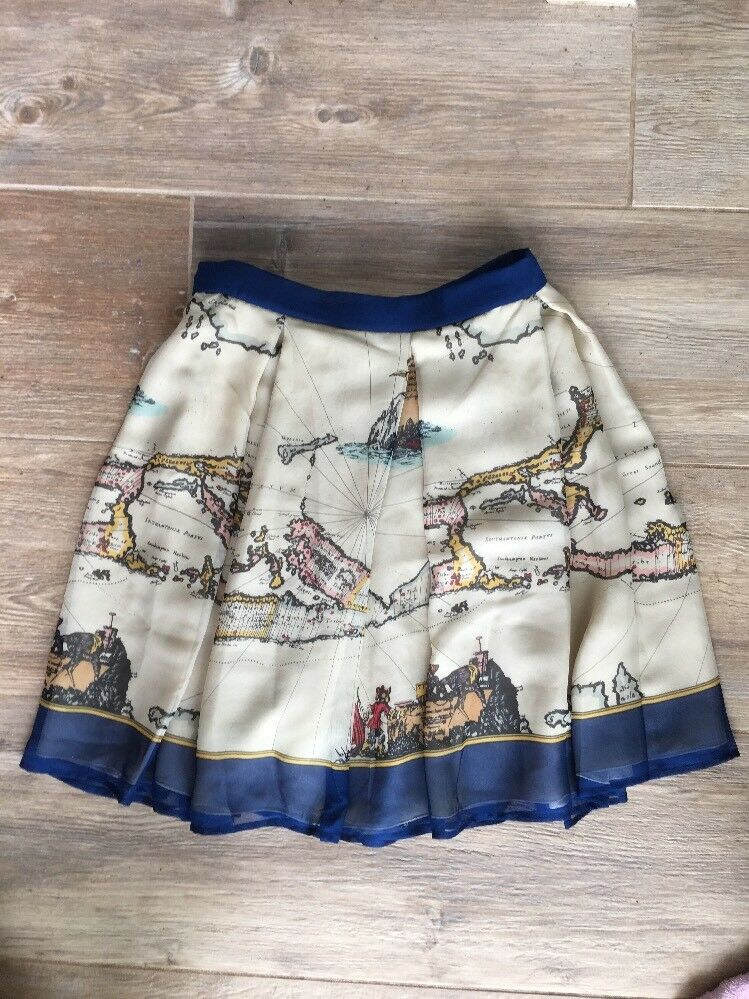 Anthropologie Anna Sui 8 Map Of The World Skirt Silk Pleated Beige Euc  178