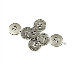 12PCS-Metal-Silver-4-Holes-Eyes-Buttons-Sewing-Rivets-Coat-Suit-15mm-DIY-Parts