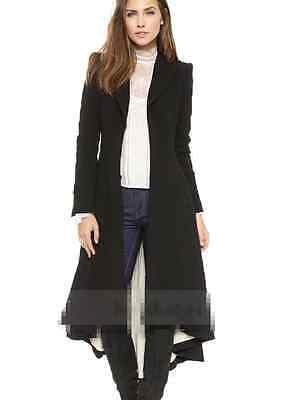 Womens Black Lapel Wool Jacket Slim Knee Long Fashion Dress Outdoor Coat Size