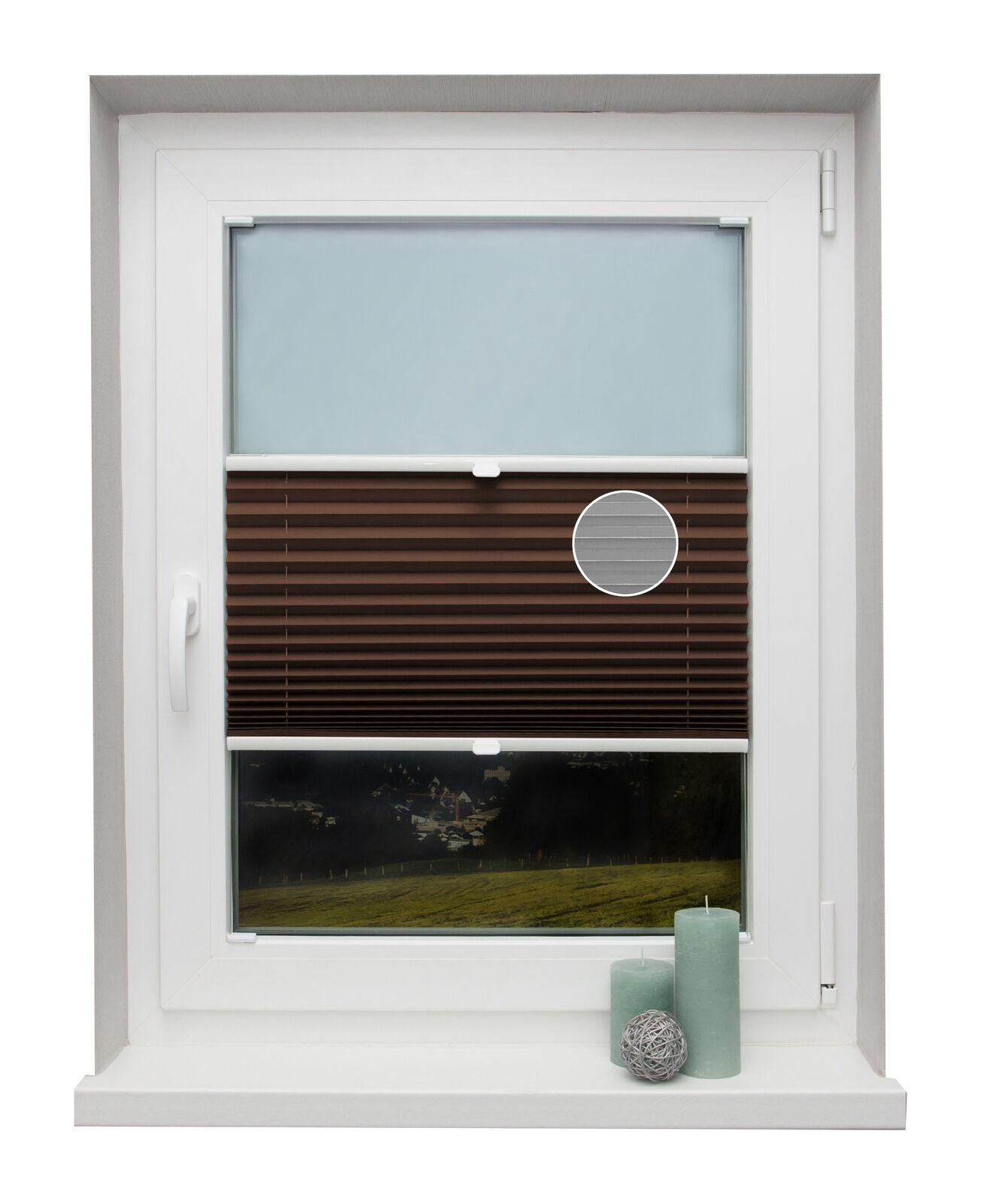 PREISHIT Thermo-Plissee nach Maß Dunkelbraun Fenster Montage in der Glasleiste