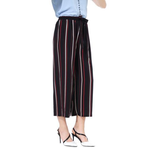 Fashion Womens Summer Casual High Waist Wide Leg Culottes Trousers Loose Pants