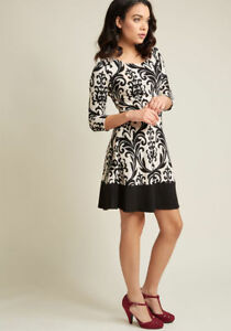 New-Modcloth-Gilli-Your-Part-039-s-Desire-A-Line-Dress-Sz-S-Black-amp-Cream