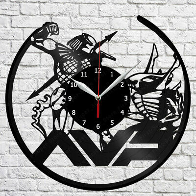 Alien vs Predato Vinyl Record Wall Clock Decor Handmade 1017