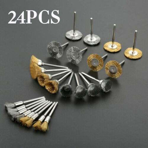 24pcs Mini Wire Brush Brushes Brass Cup Wheel For Grinder Or Drill Pack Tool Set