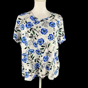 Croft-amp-Barrow-Womens-Size-1X-Classic-Tee-Top-Scoop-Neck-Short-Sleeve-Floral