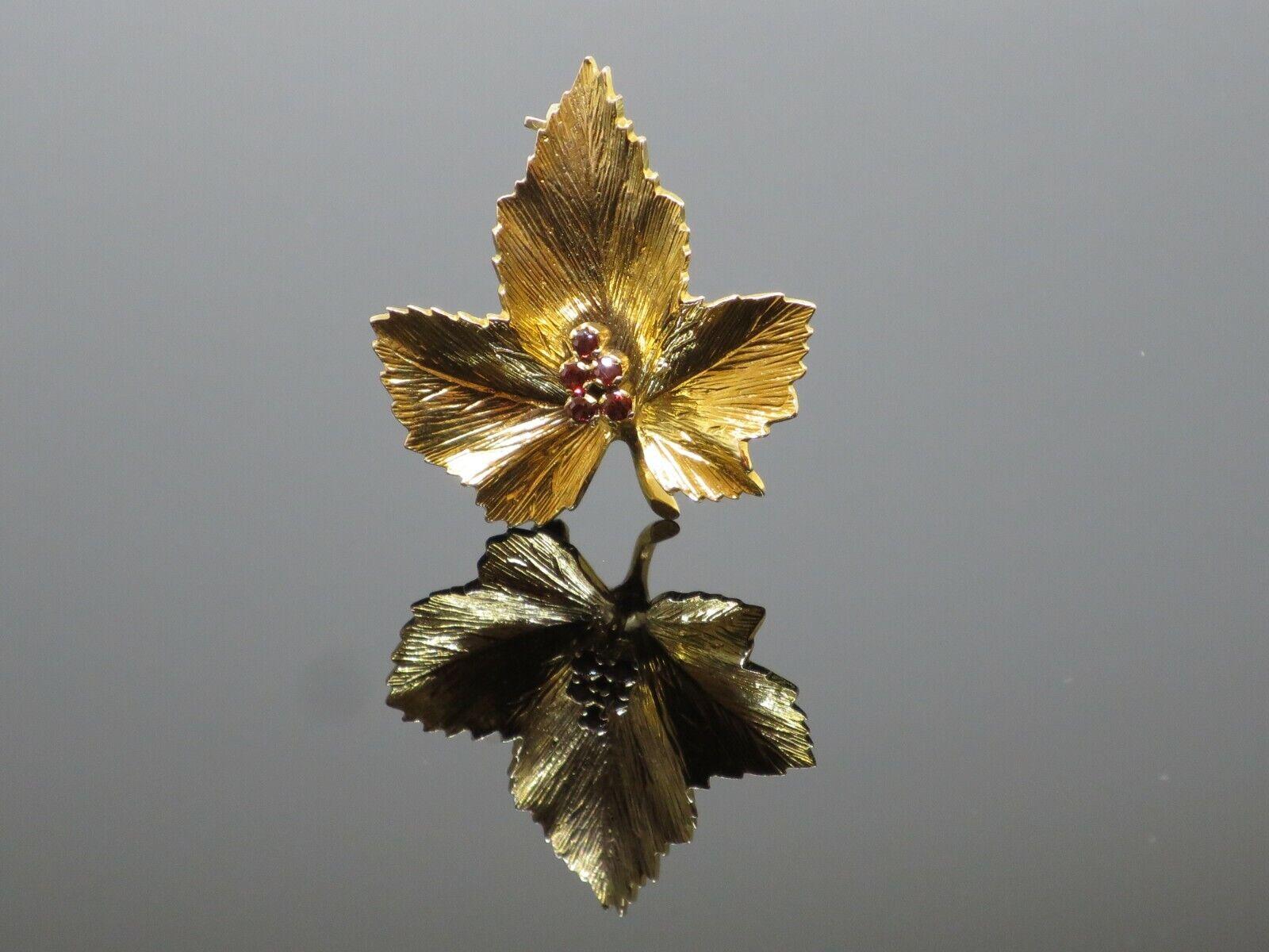 "Vintage ""Sycamore Leaf"" 0.15CTW Garnet 9K Yellow … - image 2"