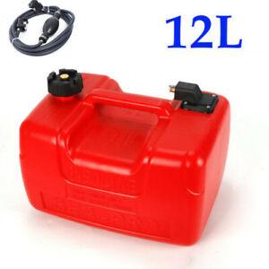 3.2Gallon Portable Outboard Boat Marine Fuel Gas Tank w/male Connector+Fuel Line