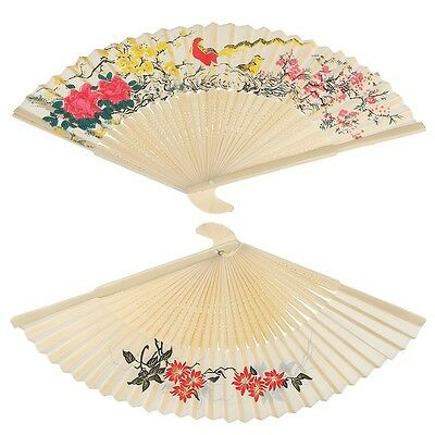 dotcomgiftshop IVORY SILKY LADIES CHINESE BAMBOO FOLDING WOOD HAND FAN