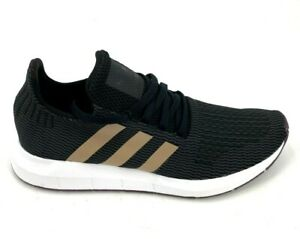 Adidas-Originals-Womens-Swift-Run-Shoes-Black-Gold-Stripes-Size-11
