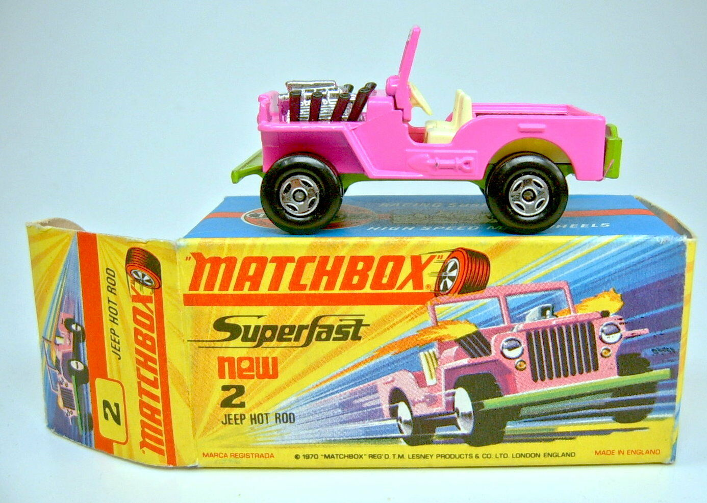 MATCHBOX SUPERFAST nº 2b JEEP Hot Rod Rose Citron Vert Top dans  I  BOX