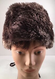 98151d734ee738 Vintage Brown Faux Fur Womens Winter Hat with Back Zipper Union Made ...