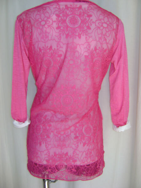 """""""new"""" Transat Boutique Gilet Resille Brode """"susy Mix"""" Fushia Taille S/m = 36/40"""
