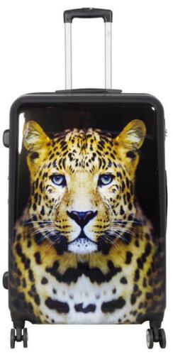Policarbonato guscio duro VALIGIA DA VIAGGIO TROLLEY SET BAGAGLIO A MANO motivo testa Leopard