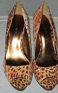 Macy S Nine West Women S Brown Print Leather High Heels Shoes 8 M Ebay