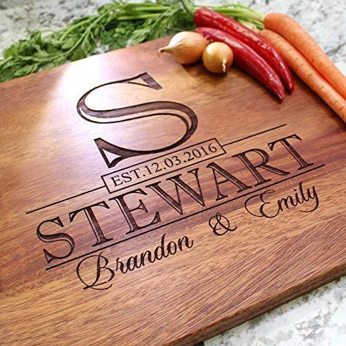 Classic Monogram Wedding Personalized Cutting Board - Engraved Cutting Board,