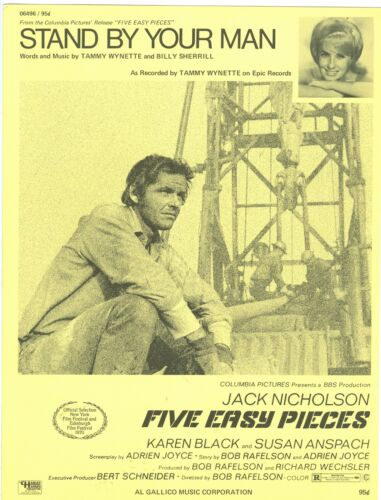 MINT STAND BY YOUR MAN sheet music FIVE EASY PIECES Jack Nicholson Tammy WYNETTE