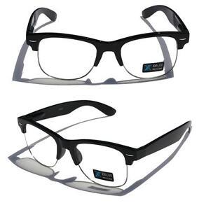 6f53c70dec4 Black Frame Silver Rim Round nerd 80 s Sun-Glasses Clear Lens Half ...