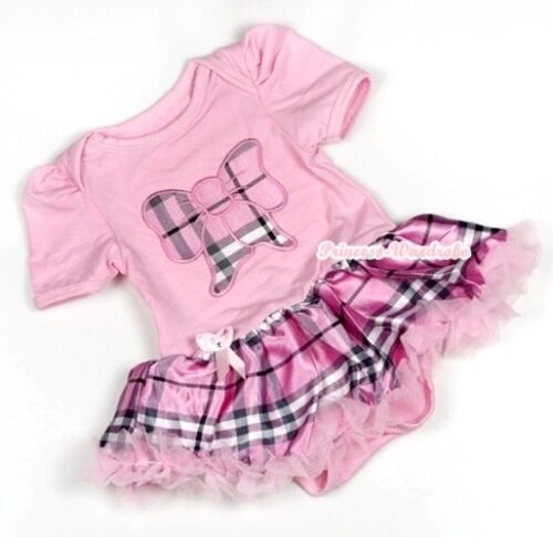 Light Pink Plaid Kitty Bow Jumpsuit Romper Girl Pink Plaid Baby Dress NB-12Month