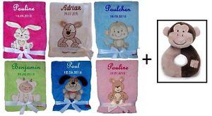 Babydecke mit Namen bestickt Spielzeug Plüsch-Bär Geschenk Baby Taufe Geburt