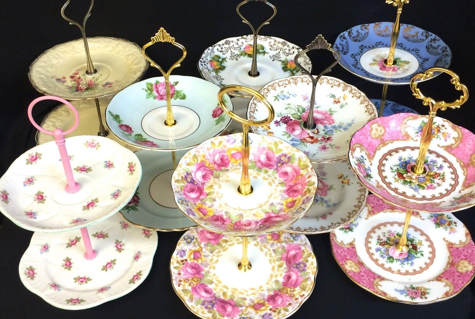 2 Tier Vintage Plate Cake Jewellery Stands High Tea Colclough Royal Vale Albert & Wedding Cake Stands \u0026 Plates  Wedding Supplies  Home \u0026 Garden