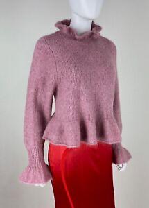 Zara-New-6-8-US-42-44-IT-S-M-Pink-Stretch-Knit-Wool-Angora-Sweater-Runway-Auth