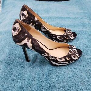 Enzo Angiolini Women's Black/White Animal Print Fabric Peep Toe Heels 6M