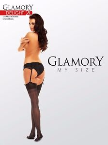 Glamory-Delight-20-Seamed-Stockings-Style-50132-Teint-Sizes-to-4XL-20-Denier