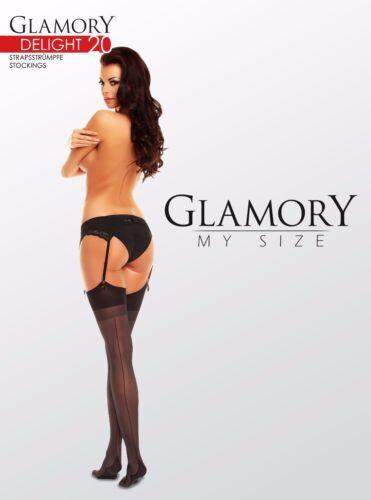 Glamory Delight 20 Seamed Stockings Style 50132 Black Sizes L to 4XL 20 Denier