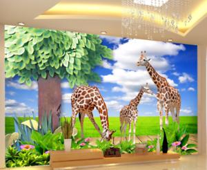 3D bluee Sky Giraffes 7 Wall Paper Murals Wall Print Wall Wallpaper Mural AU Kyra