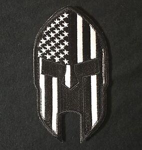 Image is loading AMERICAN-FLAG-SPARTAN-PUNISHER-HELMET-MORALE-BADGE-BLACK- 5dc024a80fc